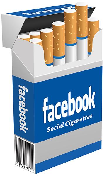 cigarrillos de facebook para mostrar las relaciones con entre la adicción, las redes sociales y la dopamina